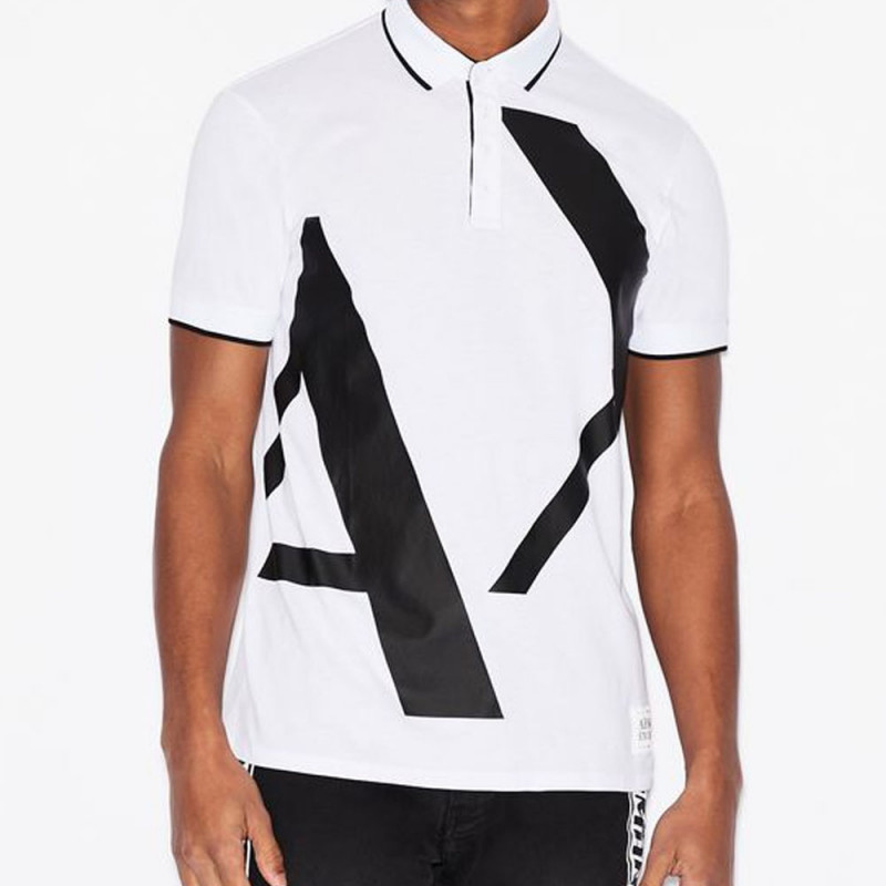 Polo Armani Exchange coupe slim Blanc