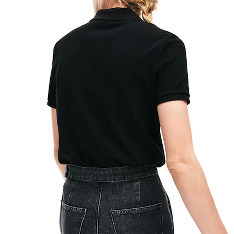Polo Lacoste Femme Classic Fit  en coton souple Noir