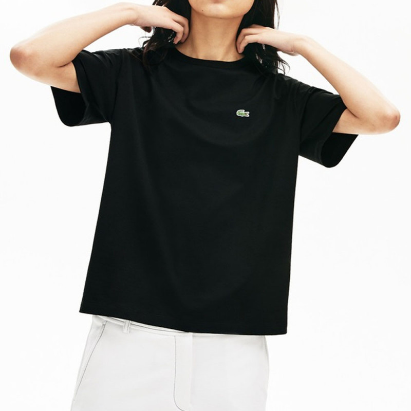 T-shirt Lacoste à col rond en coton Premium Noir