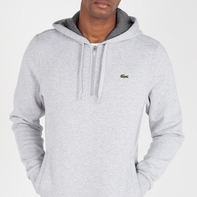 Sweatshirt col zippé à capuche Tennis Lacoste SPORT Gris en molleton uni