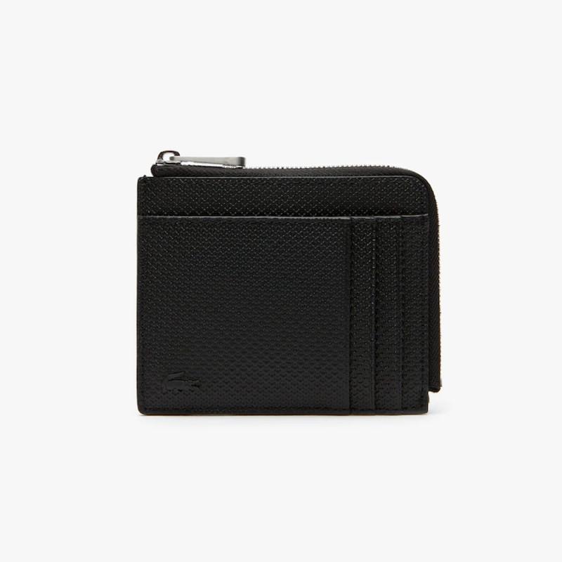 Porte-cartes zippé Chantaco en cuir piqué mat 4 cartes
