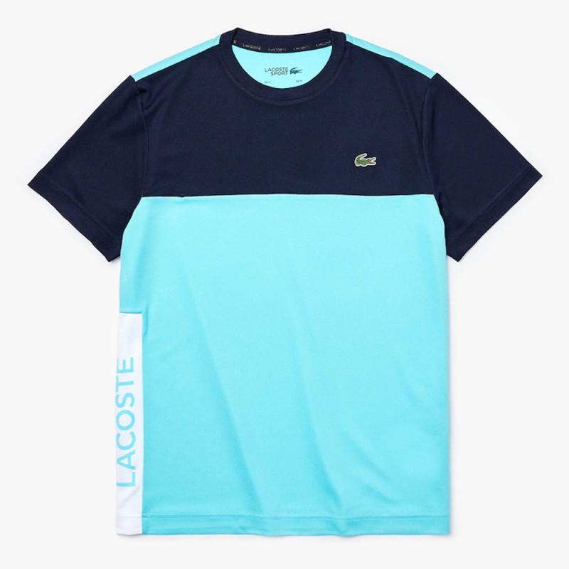 T-shirt Lacoste SPORT en piqué respirant color-block Turquoise