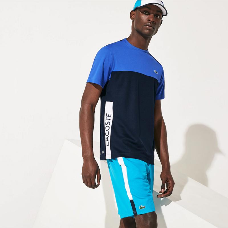 T-shirt Lacoste SPORT en piqué respirant color-block Bleu