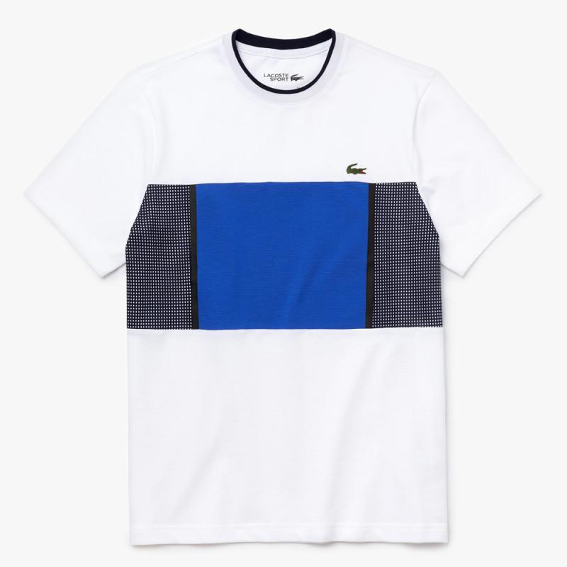 T-shirt Tennis Lacoste SPORT en maille ultra légère imprimée BLANC