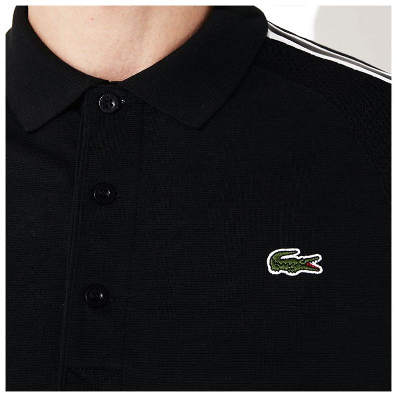Polo Lacoste SPORT en coton ultra léger avec empiècements Noir