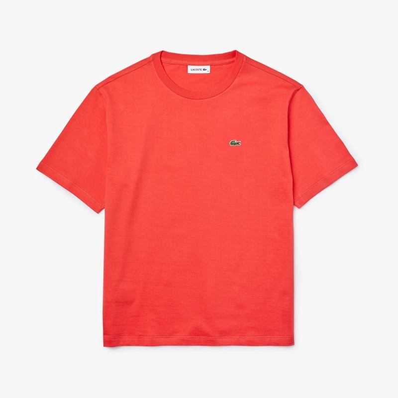 T-shirt Lacoste à col rond en coton Premium rouge