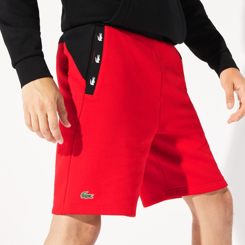 Short Lacoste SPORT en molleton color-block avec bandes croco