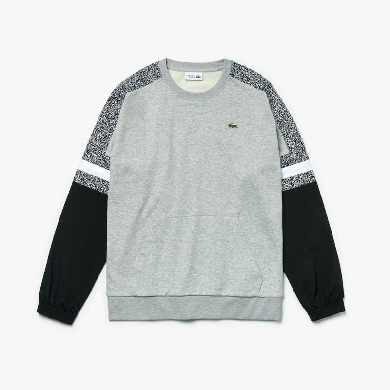 Sweatshirt Lacoste bi-matière imprimé gris