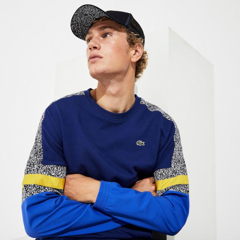 Sweatshirt Lacoste bi-matière imprimé bleu