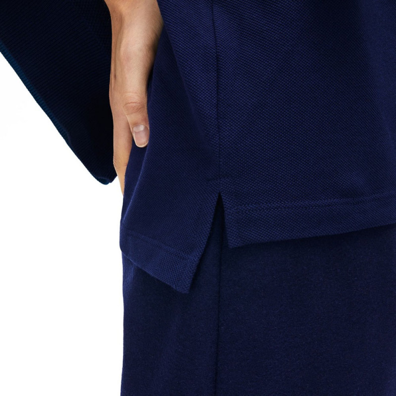 Polo Lacoste Femme Classic Fit  en coton souple Marine