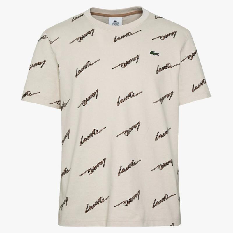 T-shirt Lacoste LIVE en coton imprimé signature Beige