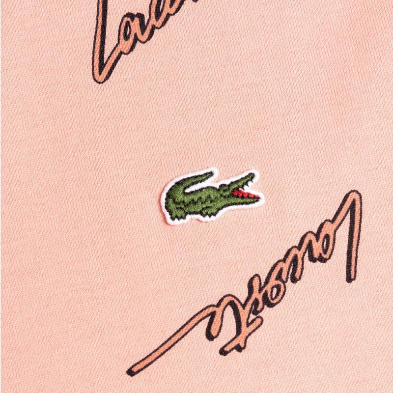 T-shirt Lacoste LIVE en coton imprimé signature Rose