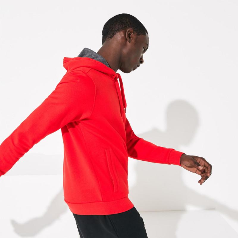 Sweatshirt col zippé à capuche Tennis Lacoste SPORT rouge en molleton uni