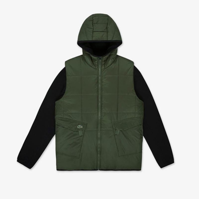 Blouson zippé vert/noir réversible Lacoste SPORT bicolore à capuche