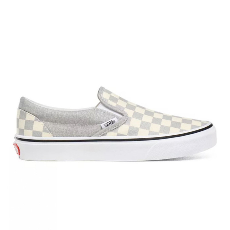 Baskets Vans Classic Slip-On Checkerboard Silver/true white(gris paillettes)