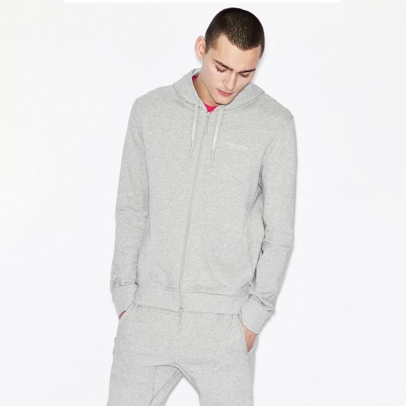 Sweat-shirt zippé gris clair Armani Exchange