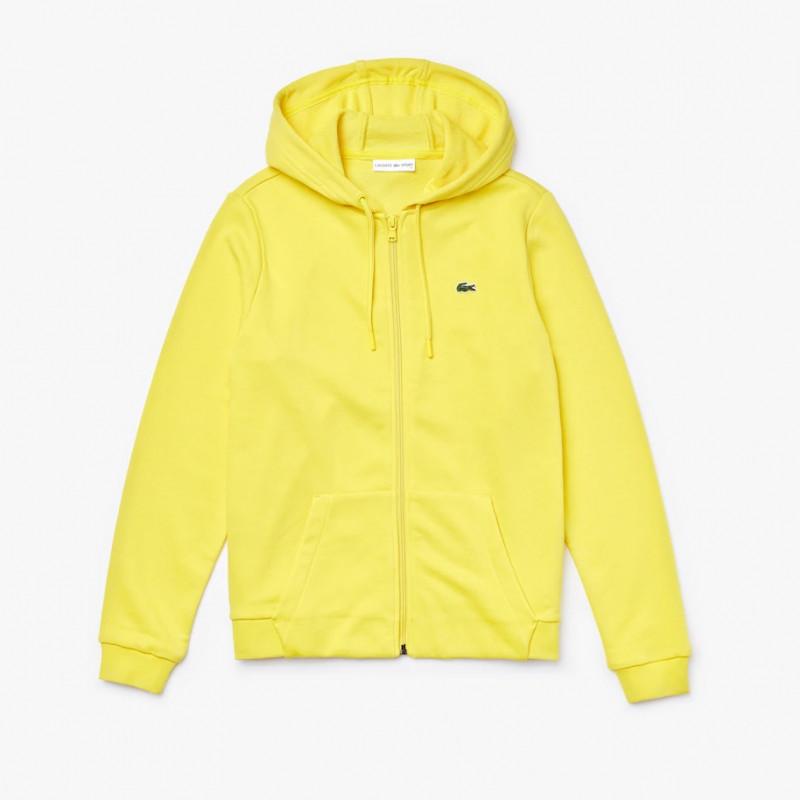 Sweat Lacoste à col rond à capuche zippé en molleton jaune