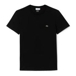 T-shirt Lacoste col rond Noir en jersey de coton pima uni