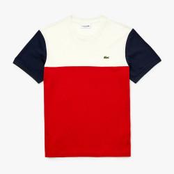 T-shirt Lacoste à col rond en coton color-block