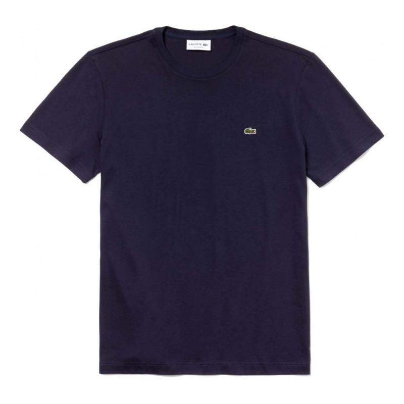 T-shirt Bleu Lacoste en coton à col rond Bleu Marine