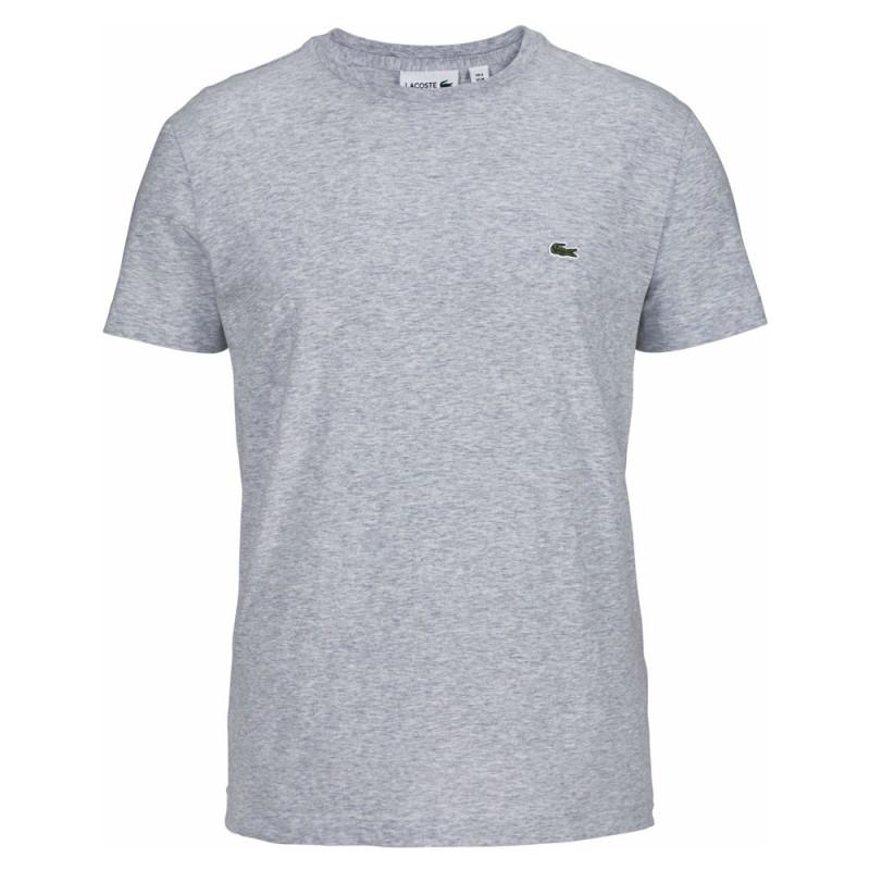 T-shirt Gris Lacoste en coton à col rond CCA