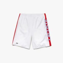 Short Tennis Lacoste Sport Blanc avec Bande rouge Lacoste