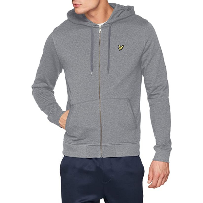 Sweat Lyle & Scott Zippé à Capuche Gris