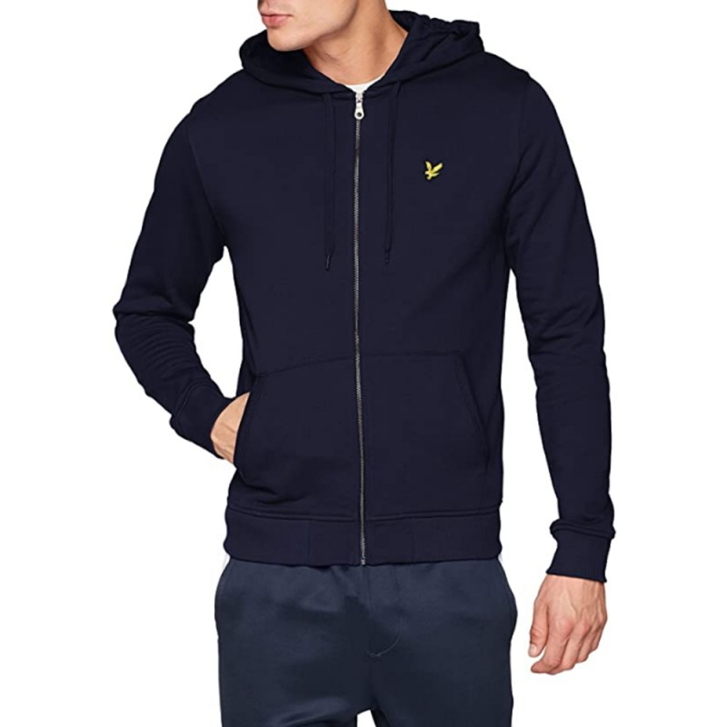 Sweat Lyle & Scott Zippé à Capuche Marine