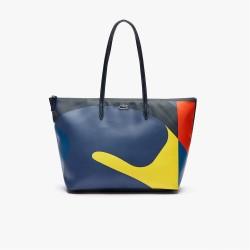 Grand sac cabas Lacoste L.12.12 en toile enduite à motif abstrait