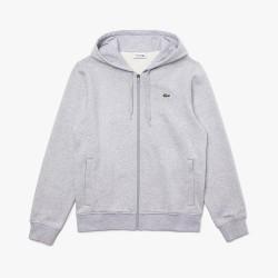 Sweatshirt à capuche Lacoste SPORT léger bi-matière grise