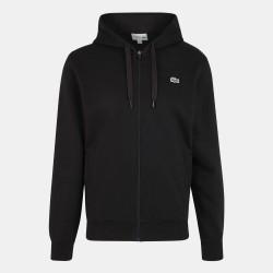 Sweatshirt à capuche Lacoste SPORT léger bi-matière noir