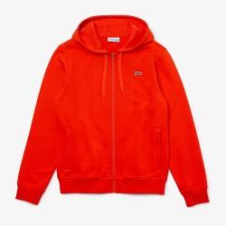 Sweatshirt à capuche Lacoste SPORT léger bi-matière rouge