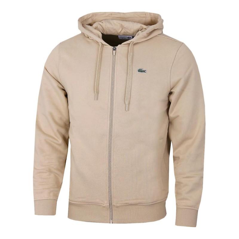 Sweatshirt à capuche Lacoste SPORT léger bi-matière BEIGE