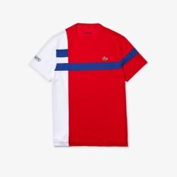 T-shirt Tennis Lacoste SPORT en piqué respirant color-block