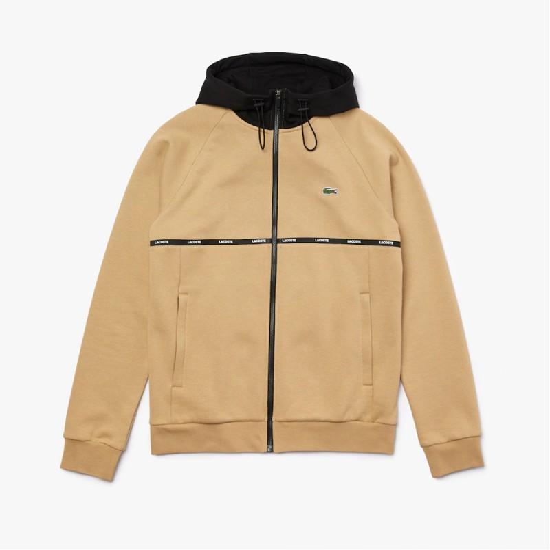 Sweatshirt zippé à capuche Lacoste SPORT en molleton bicolore