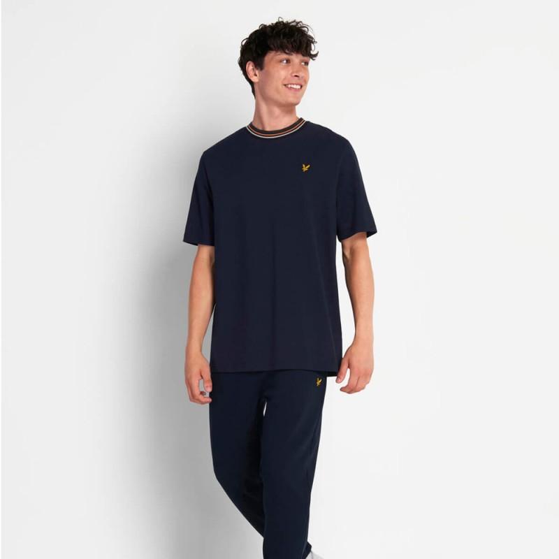 T-Shirt Lyle and Scott à rayure Bleu Marine
