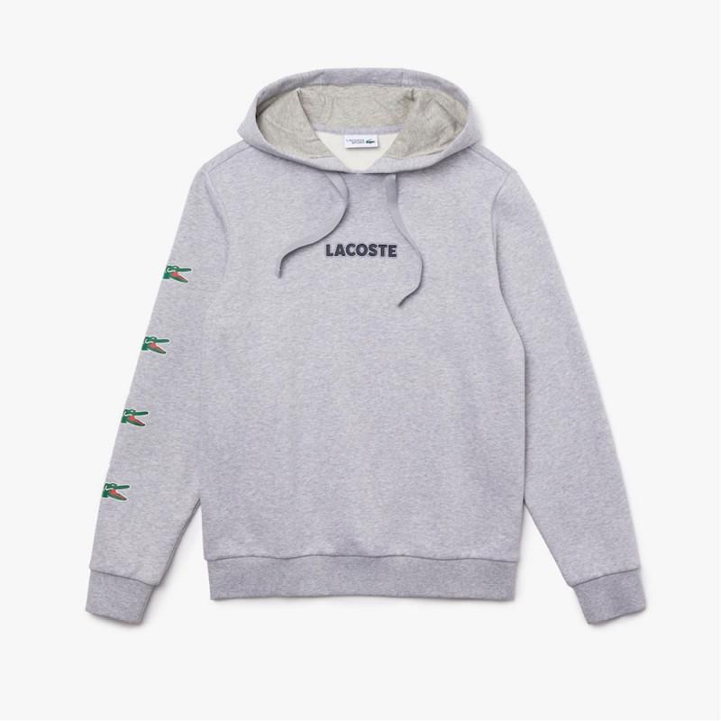 Sweatshirt à capuche Lacoste SPORT en coton imprimé crocodiles
