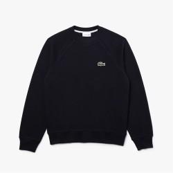 Sweatshirt col rond Lacoste en piqué de coton biologique uni