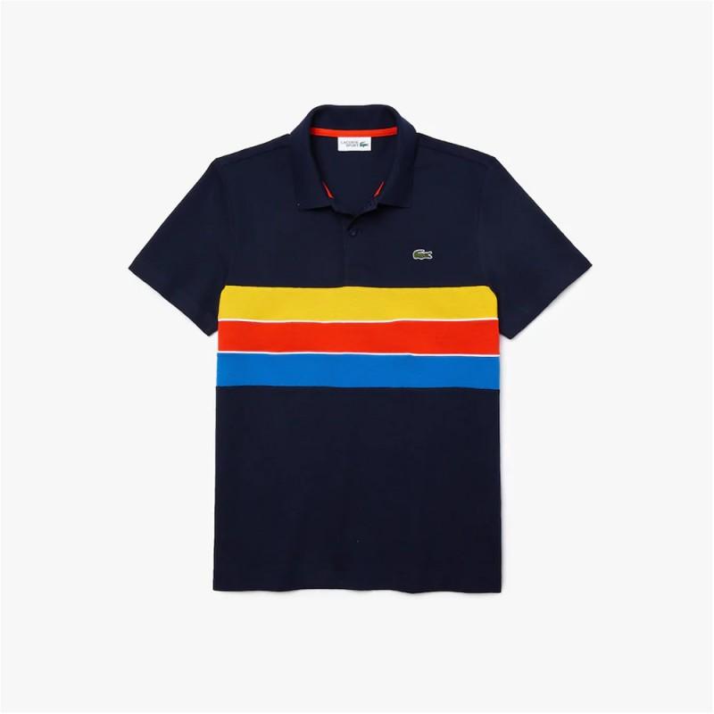 Polo Lacoste SPORT en coton léger à empiècements tricolores
