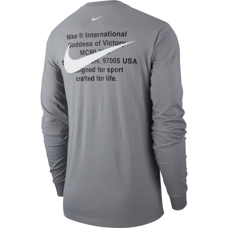 T-Shirt Manches Longues Nike Sportswear Swoosh Gris