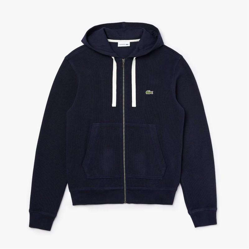 Sweatshirt zippé à capuche Lacoste en piqué de coton biologique uni