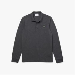 Polo slim fit à manches longues Lacoste SPORT en coton ultra léger gris