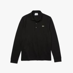 Polo slim fit à manches longues Lacoste SPORT en coton ultra léger noir