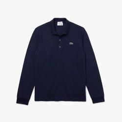 Polo slim fit à manches longues Lacoste SPORT en coton ultra léger Bleu marine