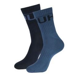 Lot de deux paires de chaussettes Hugo Boss 2P QS Rib Logo CC en maille à logo inversé