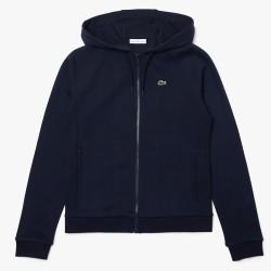 Veste zippée à capuche Tennis Lacoste SPORT en molleton uni Bleu marine