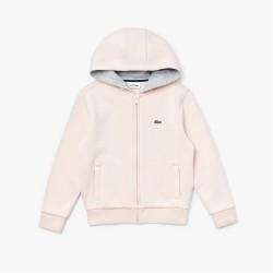 Sweatshirt zippé Lacoste SPORT pour enfant en molleton rose
