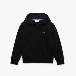 Sweatshirt zippé Lacoste SPORT pour enfant en molleton noir