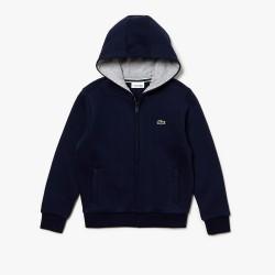 Sweatshirt zippé Lacoste SPORT pour enfant en molleton bleu marine