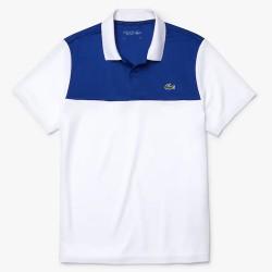 Polo Lacoste SPORT en piqué résistant et respirant Blanc et Bleu